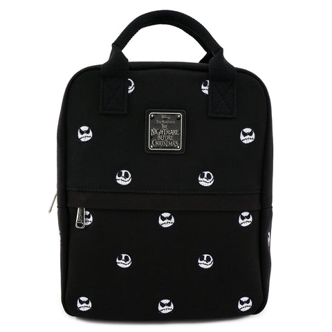 LOUNGEFLY X THE NIGHTMARE BEFORE CHRISTMAS JACK SKELLINGTON EMBROIDERED HEADS CANVAS MINI BACKPACK