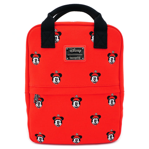 Disney Positively Minnie Mouse Square AOP Canvas Embroidered Mini Backpack