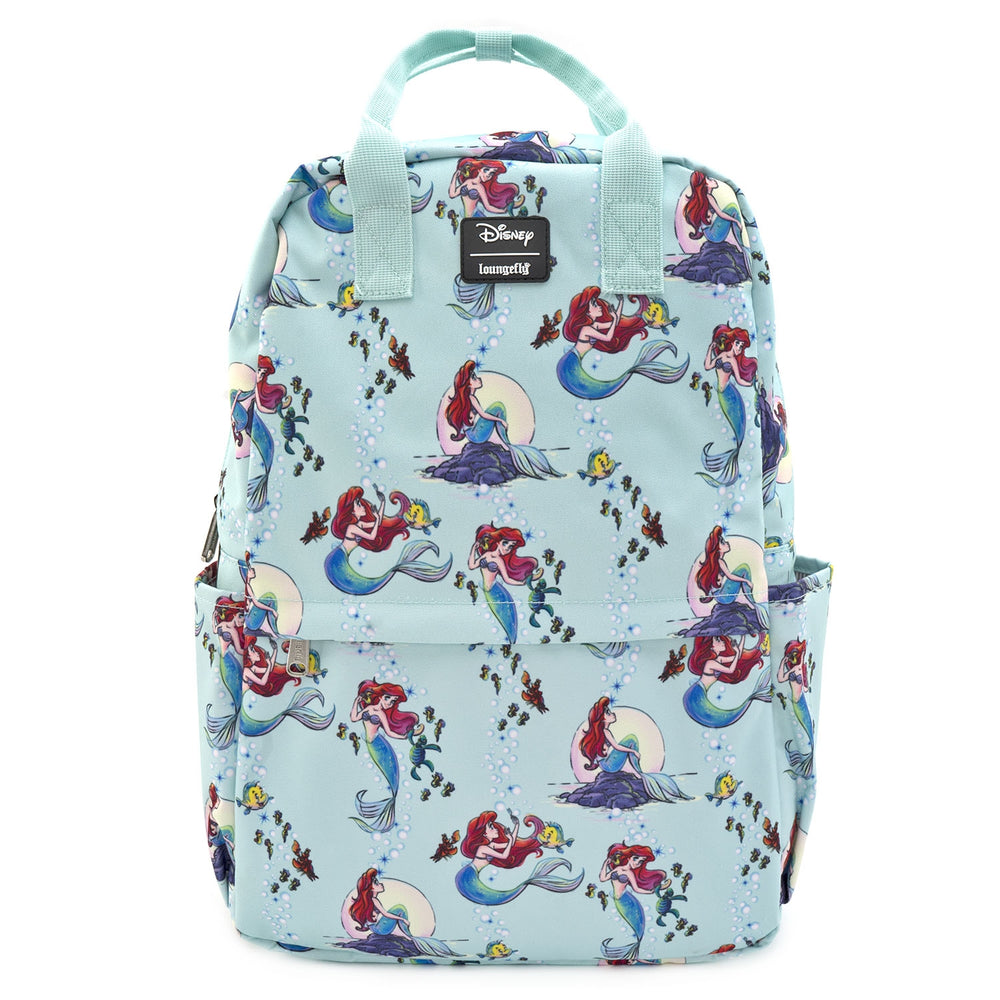 LOUNGEFLY X DISNEY THE LITTLE MERMAID ARIEL SQUARE NYLON AOP BACKPACK-zoom