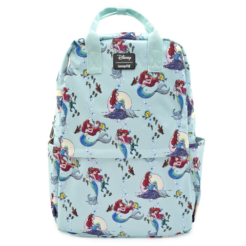 LOUNGEFLY X DISNEY THE LITTLE MERMAID ARIEL SQUARE NYLON AOP BACKPACK