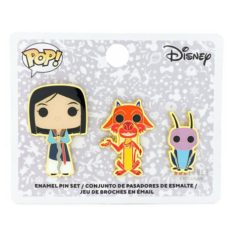 FUNKO POP! X DISNEY MULAN 3 PIECE ENAMEL PIN SET