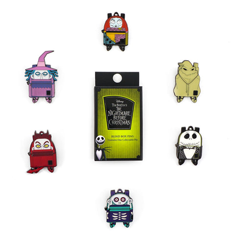 LOUNGEFLY X DISNEY NIGHTMARE BEFORE CHRISTMAS BACKPACK BLIND BOX ENAMEL PINS
