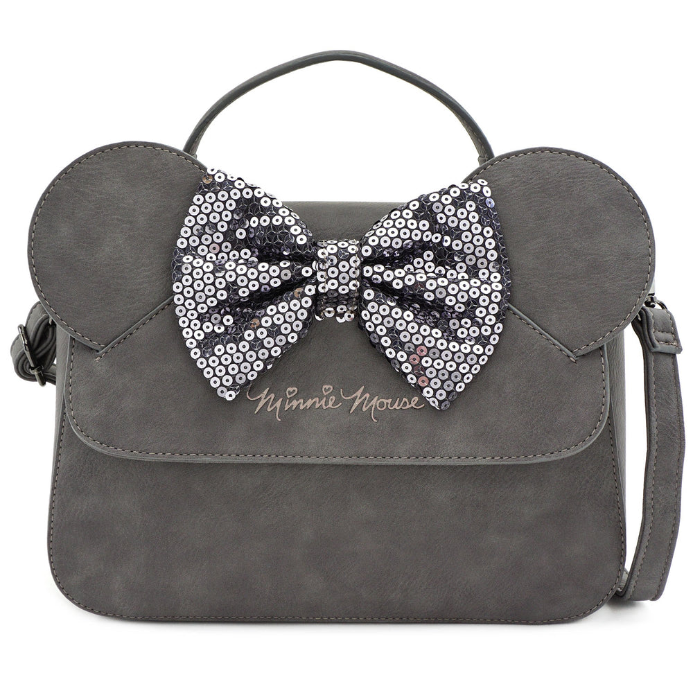 LOUNGEFLY X DISNEY GREY MINNIE MOUSE SEQUIN BOW CROSSBODY BAG-zoom
