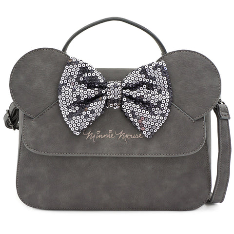 LOUNGEFLY X DISNEY GREY MINNIE MOUSE SEQUIN BOW CROSSBODY BAG