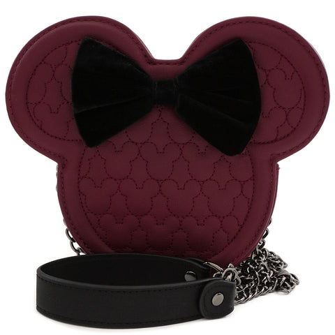 LOUNGEFLY X DISNEY MINNIE MOUSE MAROON QUILTED SILHOUETTE HEAD CROSSBODY BAG