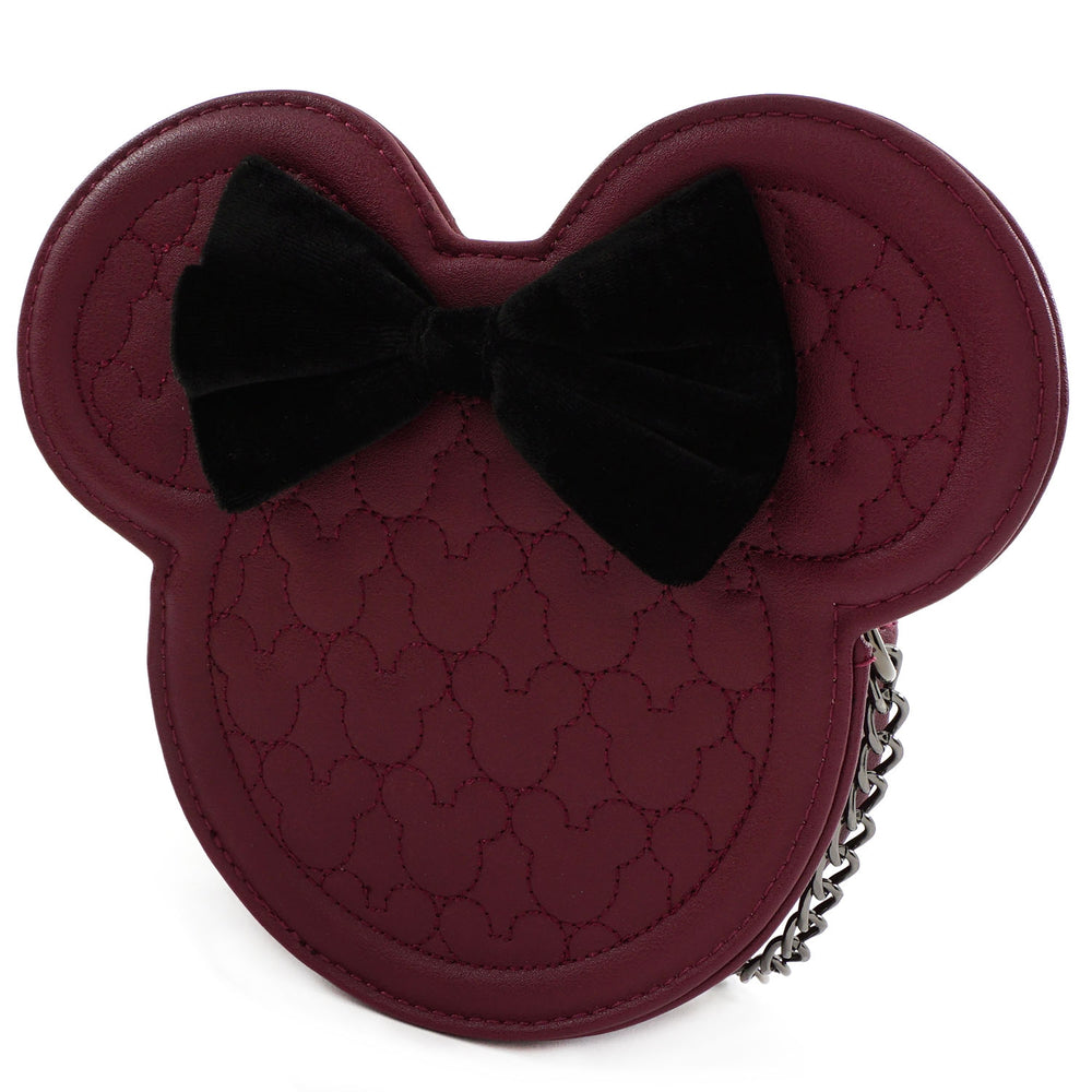 LOUNGEFLY X DISNEY MINNIE MOUSE MAROON QUILTED SILHOUETTE HEAD CROSSBODY BAG-zoom