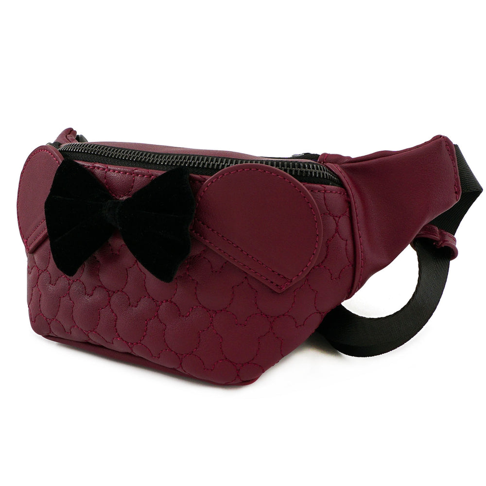 LOUNGEFLY X DISNEY MINNIE MOUSE MAROON QUILTED FANNY PACK-zoom