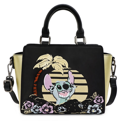 LOUNGEFLY X DISNEY LILO AND STITCH SATIN STITCH CROSS BODY BAG