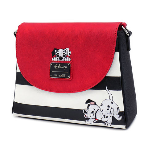 LOUNGEFLY X DISNEY 101 DALMATIANS BLACK AND WHITE STRIPE PEAKING PUPPY CROSS BODY BAG