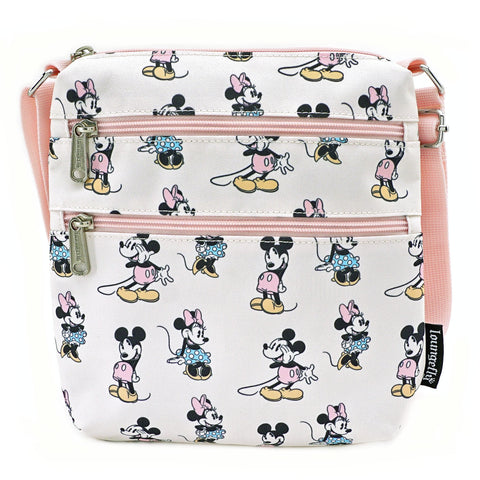 LOUNGEFLY X DISNEY MINNIE MICKEY AOP NYLON PASSPORT BAG
