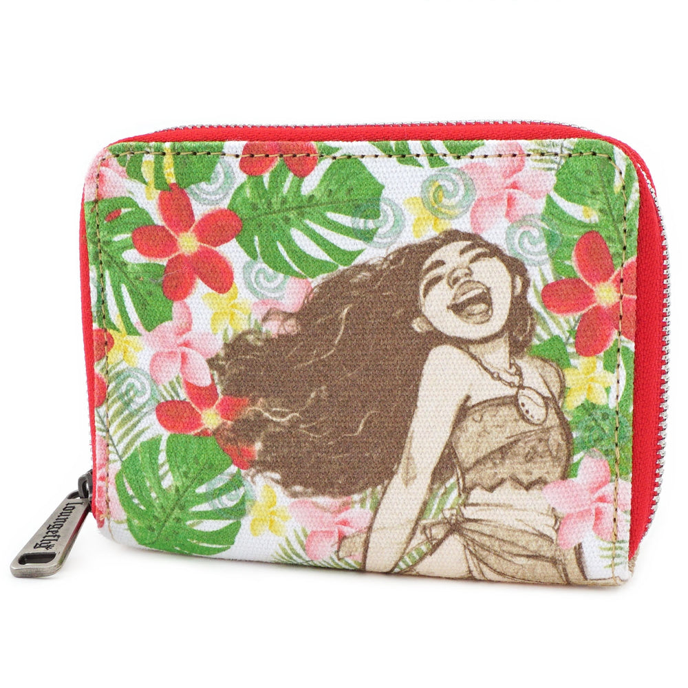 Loungefly Moana Floral Zip Around Wallet-zoom
