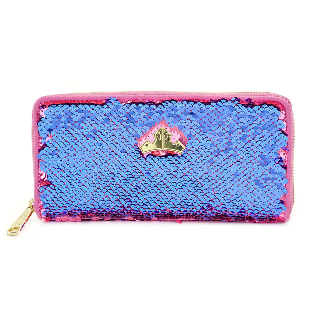 LOUNGEFLY X DISNEY PRINCESS SLEEPING BEAUTY REVERSIBLE SEQUIN ZIP WALLET-zoom