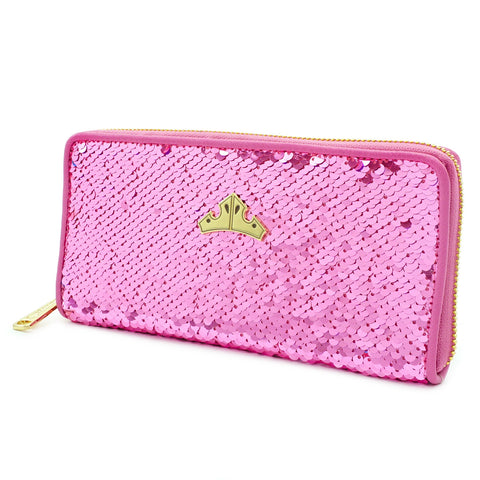 LOUNGEFLY X DISNEY PRINCESS SLEEPING BEAUTY REVERSIBLE SEQUIN ZIP WALLET