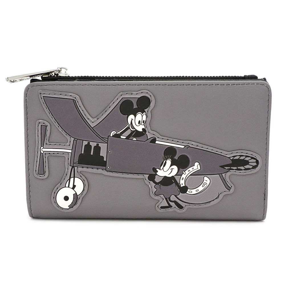 LOUNGEFLY X DISNEY MICKEY MOUSE PLANE CRAZY FLAP WALLET-zoom