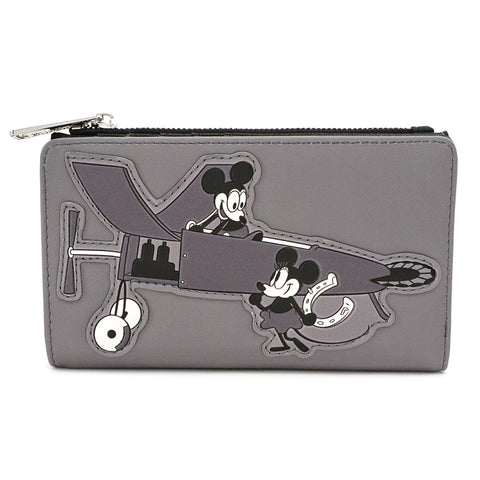 LOUNGEFLY X DISNEY MICKEY MOUSE PLANE CRAZY FLAP WALLET