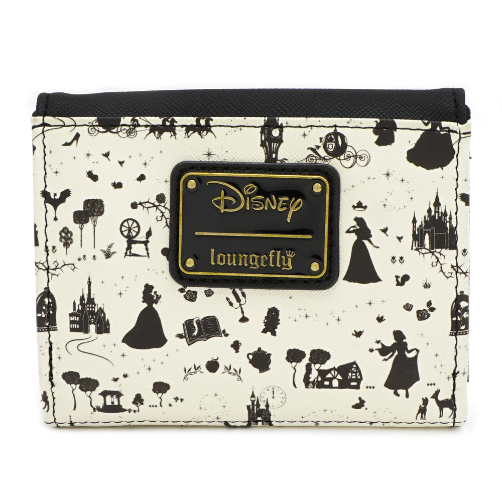 LOUNGEFLY X DISNEY PRINCESS BLACK AND WHITE MULTI PRINCESS FLAP WALLET-zoom