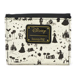 LOUNGEFLY X DISNEY PRINCESS BLACK AND WHITE MULTI PRINCESS FLAP WALLET