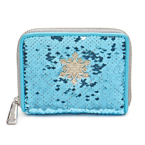 LOUNGEFLY X DISNEY FROZEN ELSA REVERSIBLE SEQUIN ZIP AROUND WALLET