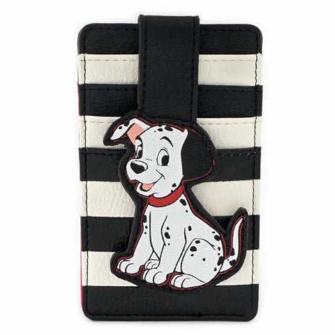 LOUNGEFLY X DISNEY 101 DALMATIANS BLACK AND WHITE STRIPE SITTING PUPPY CARDHOLDER
