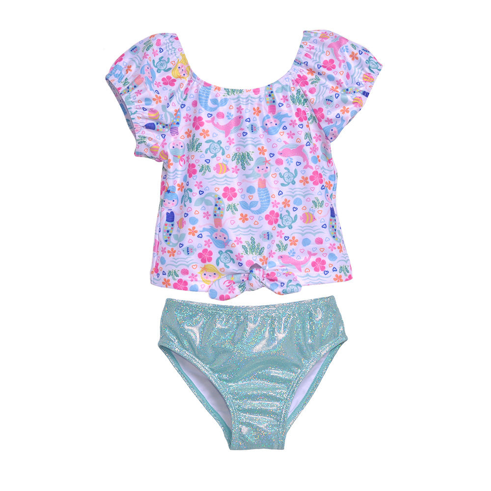 UPF 50+ Daisy 2 Piece Tie Front Swimsuit | Mermaid Lagoon