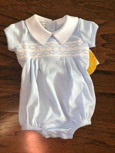 Magnolia Baby Cora and Cole's Classic Smocked Collared Boy Bubble