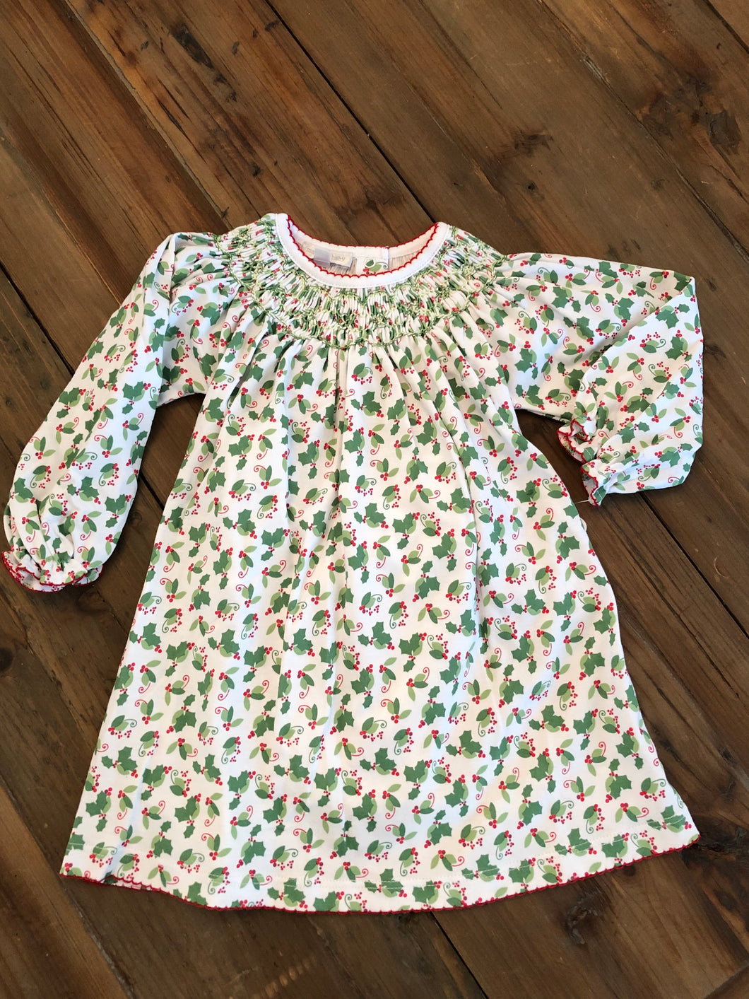 Magnolia Baby Happy Holly Days Bishop Dress