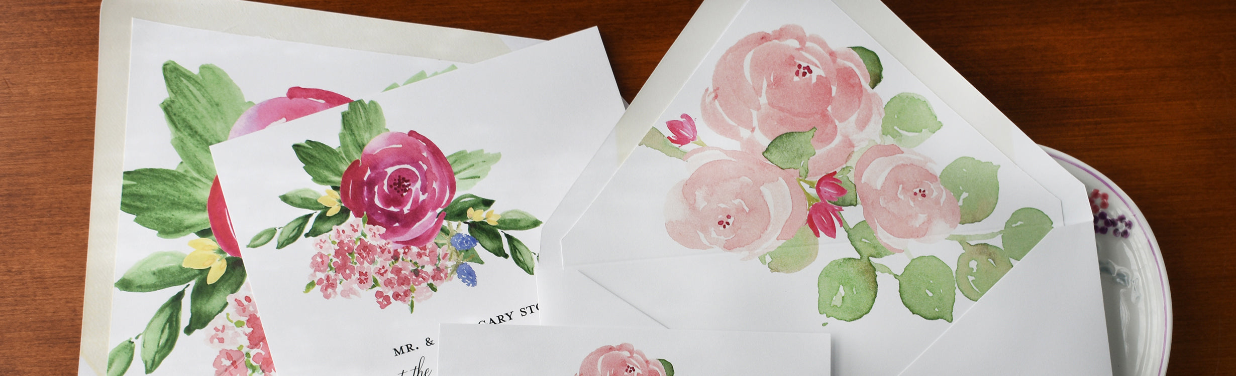 Rose watercolor stationery