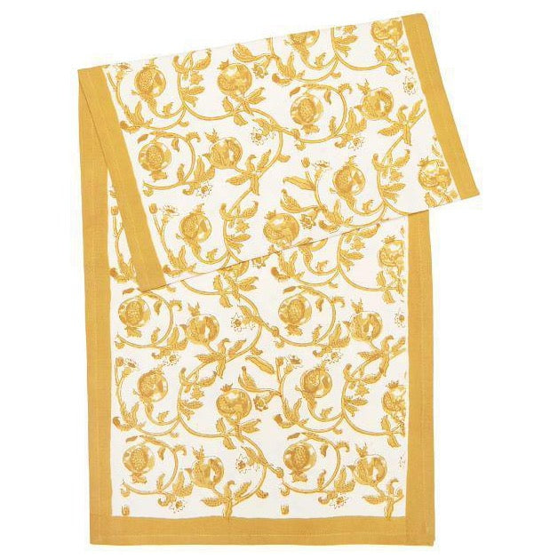 intertwined floral pattern with mustard-colored pomegranates atop a white background.