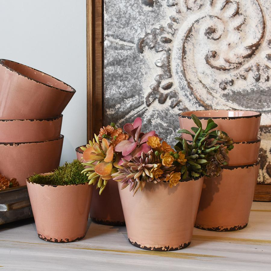 Pink Crackle Planter -Multiple sizes