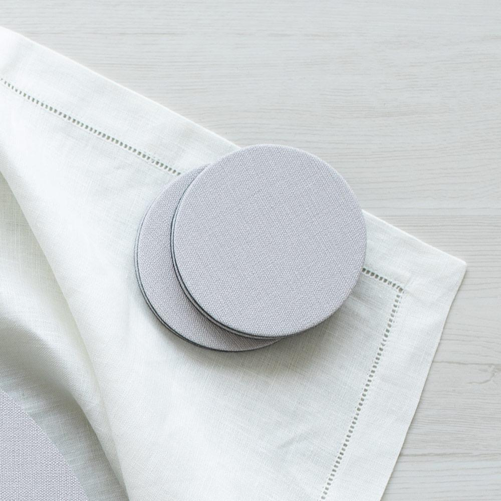 Classic Canvas Felt-Backed Coasters in Linen