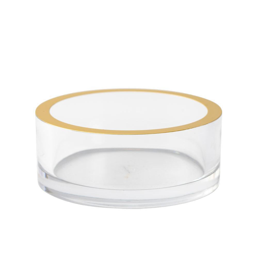 Clear Acrylic Wine Bottle Coaster with Gold Rim