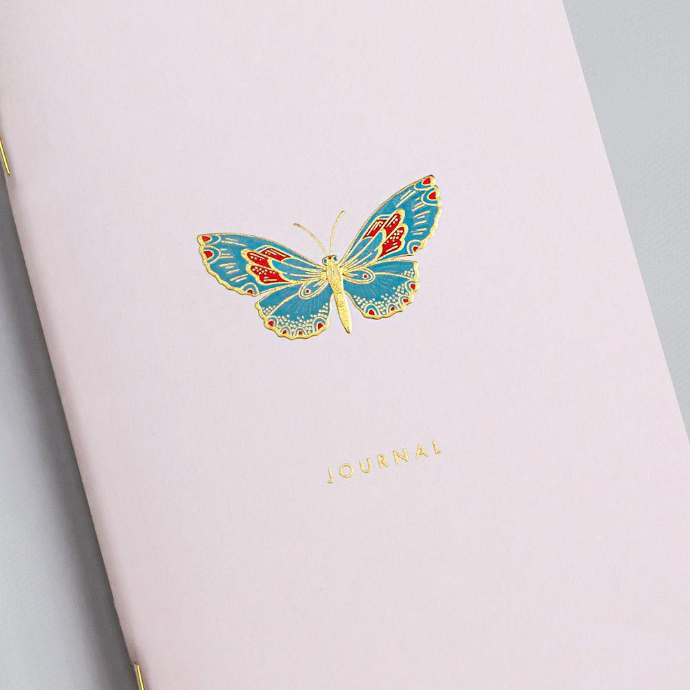 Engraved Butterfly Pink Notebook