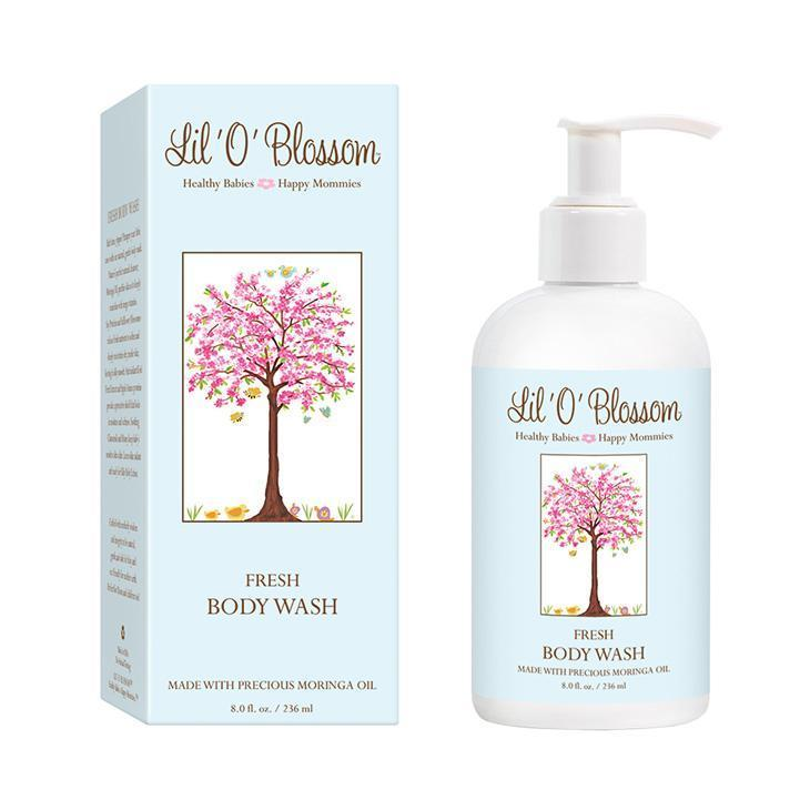 Lil' O' Blossom Body Wash in 8oz blue bottle with pump top