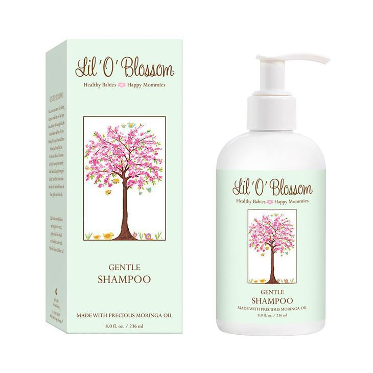 Lil' O' Blossom Gentle Shampoo in green 8oz bottle with pump top.
