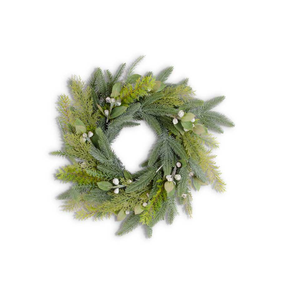 Mixed Pine with Cream Pods Wreath