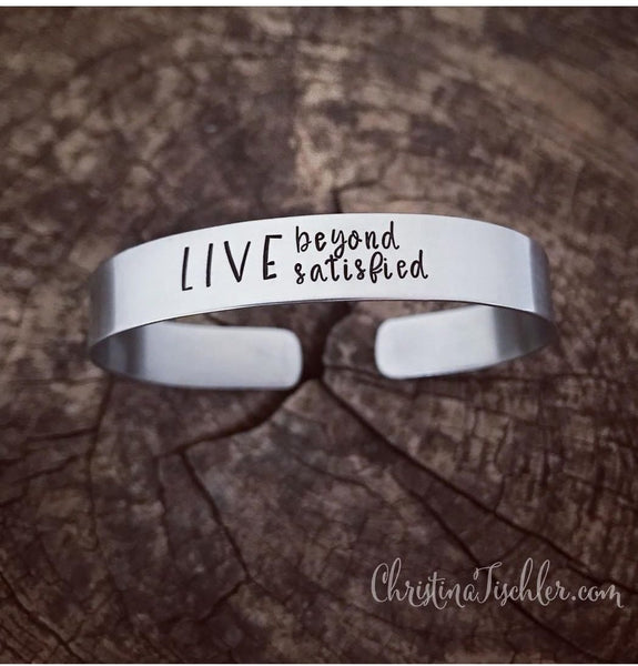 Stainless steel hand-stamped cuff LBS bracelet