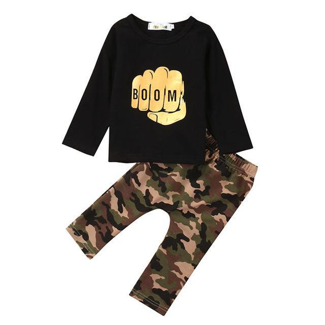 Baby Clothing Sets 70 BOOM Camo Pants + Top set of 2 Baby Outfits
