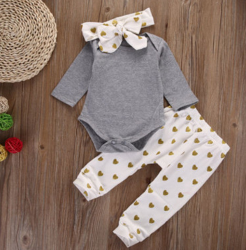 Baby Clothing Sets 80cm Headband + Long Sleeve   + Pants 3pc Set