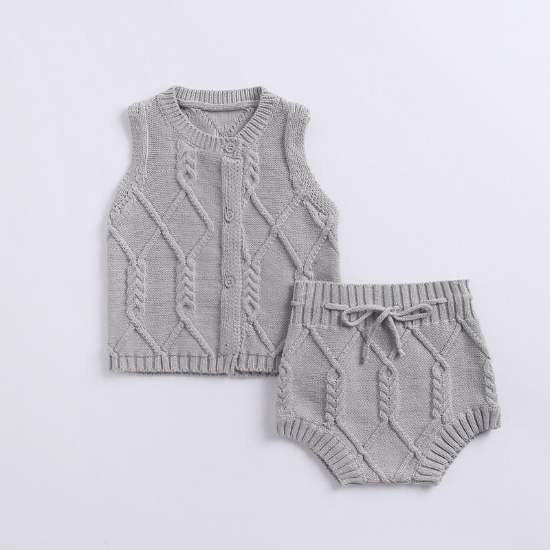 Baby Clothing Sets Grey / 66cm Newborn suit cotton knitted twist vest