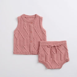 Baby Clothing Sets Red / 73cm Newborn suit cotton knitted twist vest