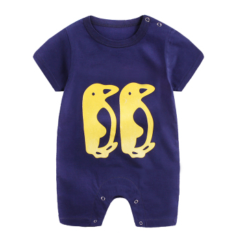 Baby Rompers Blue / 80cm Baby Short Sleeve Cartoon Print Romper