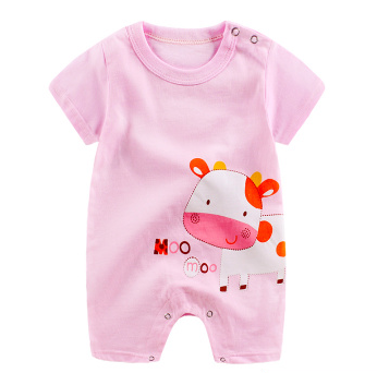 Baby Rompers Pink / 59cm Baby Short Sleeve Cartoon Print Romper