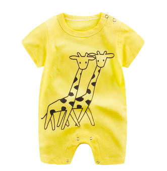 Baby Rompers Yellow / 66cm Baby Short Sleeve Cartoon Print Romper