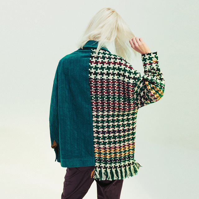 Blouse Checkered patchwork asymmetric jacket