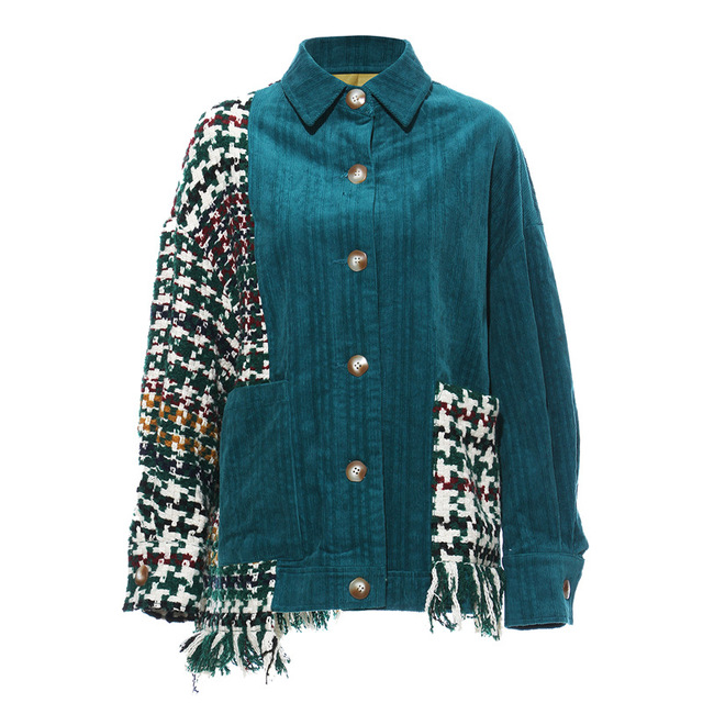 Blouse Green / S Checkered patchwork asymmetric jacket