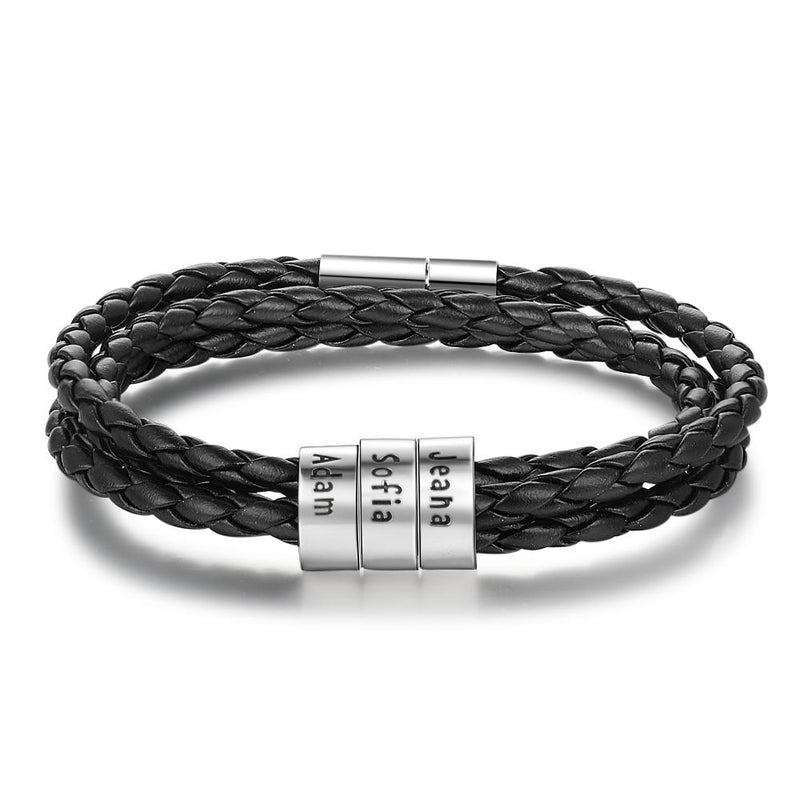 Bracelets and Bangles 3ring Personalized Braided Leather Bracelet