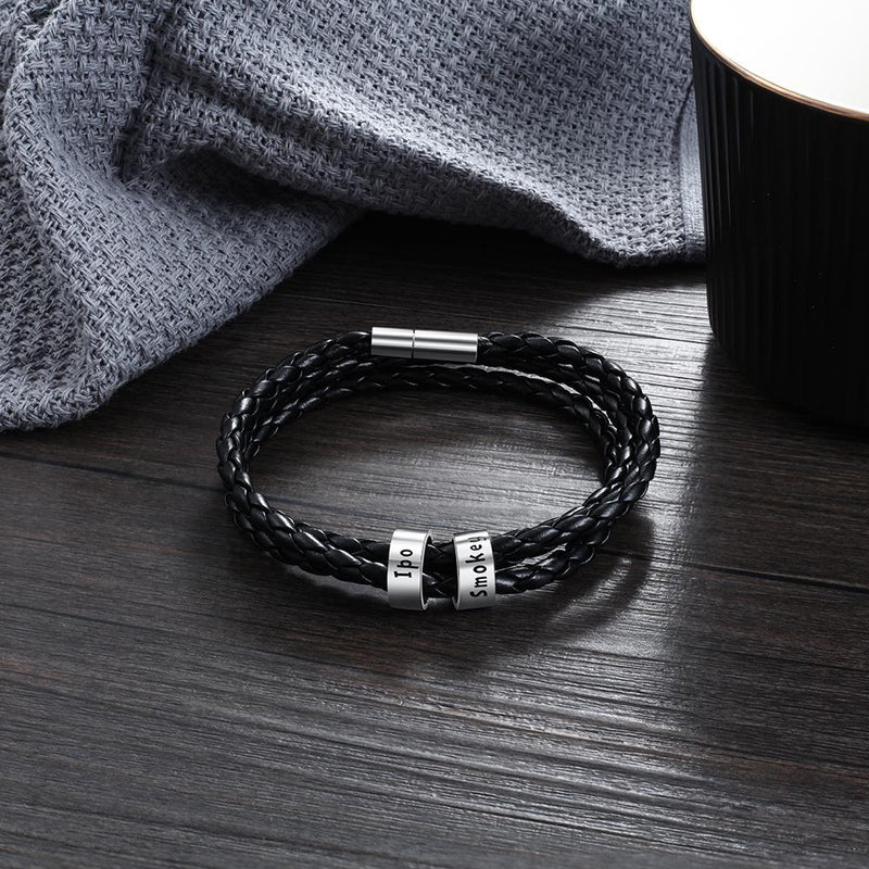 Bracelets and Bangles Personalized Braided Leather Bracelet