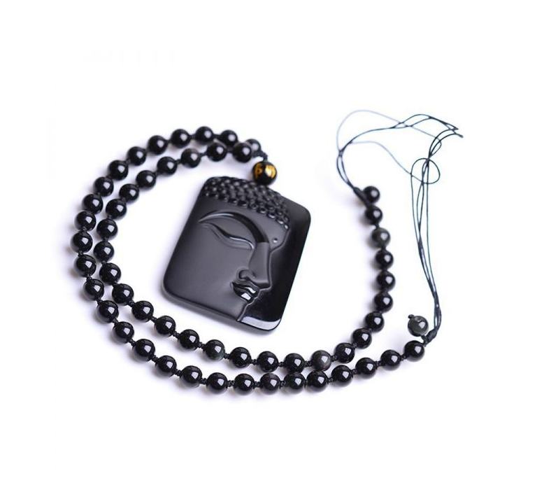 Charms Natural Obsidian Buddha Pendant Amulet Natural Obsidian Buddha Pendant Amulet
