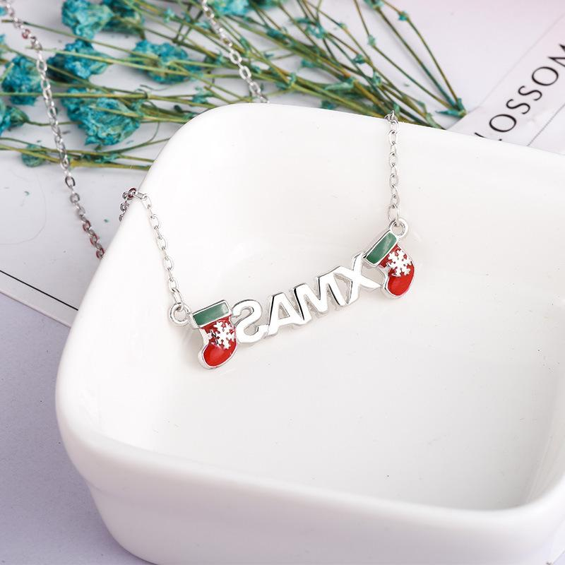 Charms Platinum gold / 925 Silver Creative silver ornaments Christmas gifts s925 double sterling silver necklace Autumn and winter zircon snowflakes pendant letters