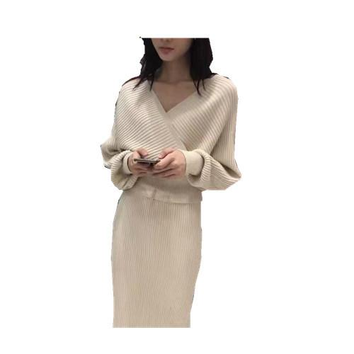 Dress Apricot / M Off shoulder large V-neck knitted tight package hip suit